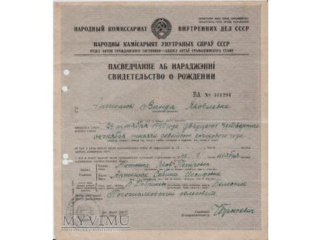 Akt urodzenia-Dobrzyniewo 1940.