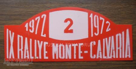 "Tablica rajdowa ""RALLYE MONTE-CALVARIA 1972 rok"""
