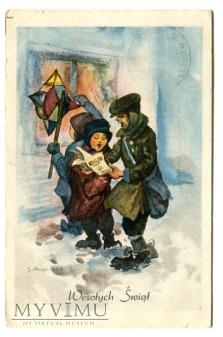 1958 Wesołych Świąt Kolędnicy pocztówka