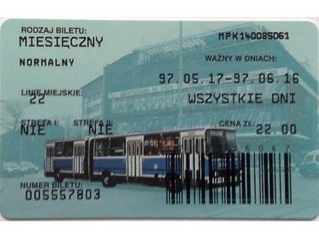 Bilet MPK Kraków 48