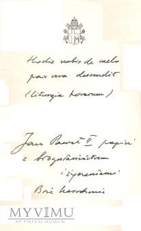 Autograf od Bł . Jana Pawła II