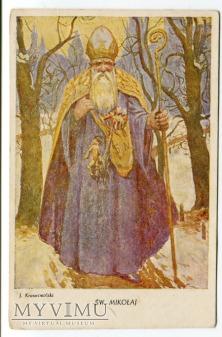 Duże zdjęcie Święty Mikołaj Santa Claus Postcard J.Krasnowolski