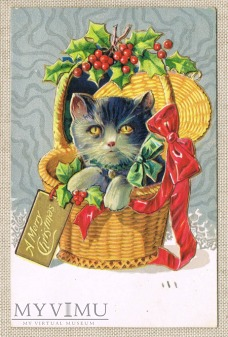 1910 r. Wesołych Świąt kotek w koszyku ostrokrzew