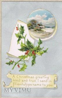 Tłoczona kartka świąteczna z 1908rok