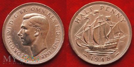 Wielka Brytania, half penny 1948
