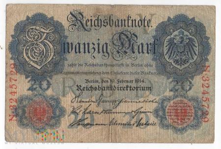 Banknot 20 Marek - ROK 1914