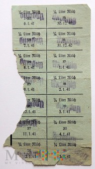Kartki żywnościowe na 1/4 litra mleka 1940-41, 42