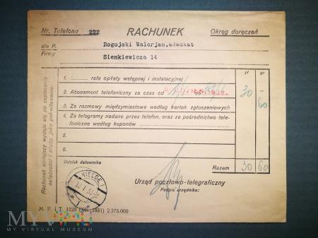 Rachunek telefoniczny nr 4, grudzień 1932 + fiszka