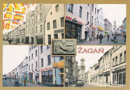 Żagań. Ulica Warszawska dawniej i dzisiaj.