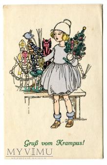 Krampus pod choinkę i dzieweczka c. 1930