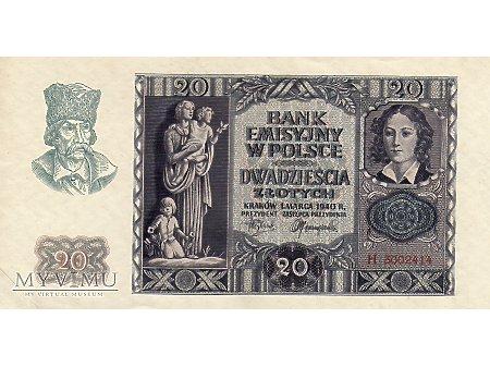 20 Złotych 01.03.1940 r.