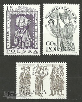 Święty Wojciech na polskich znaczkach.