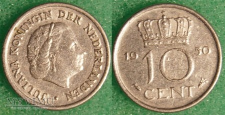 Holandia, 1950, 10 centów