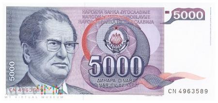 Jugosławia - 5 000 dinarów (1985)
