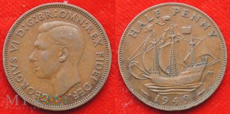 Wielka Brytania, half penny 1949