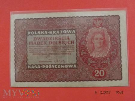 Duże zdjęcie 20 marek polskich - 1919r.
