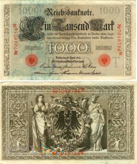 Niemcy, 1000 marek 1910r. Ser.M