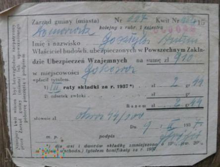 Potwierdzenie wpłaty ubezpieczenia 1937