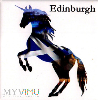 magnes z Edynburga - jednorożec w szkocką flagę