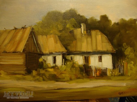 Duże zdjęcie Wiejskie chaty - olej