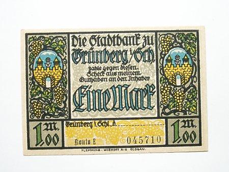 Zielona Góra- Pieniądz zastępczy 1 marka