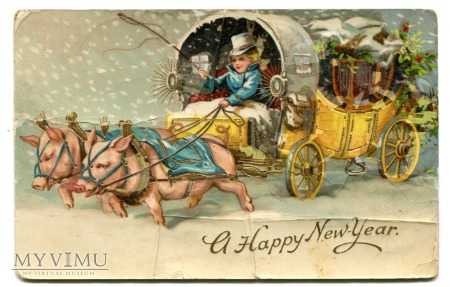 1910 NOWY ROK Zaprzęg Świnek USA