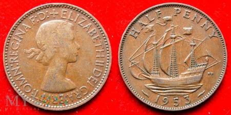 Wielka Brytania, half penny 1953