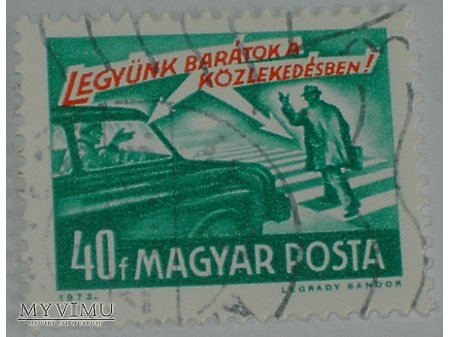 Duże zdjęcie Węgierski znaczek z samochodami i motocyklem