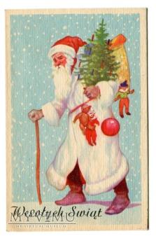 Duże zdjęcie 1949 Święty Mikołaj z PRL-u Wesołych Świąt