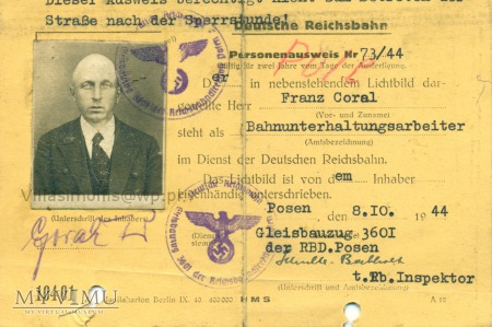 Deutsche Reichsbahn - Dowód Tożsamości