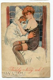 Pożegnanie Starego Roku przez Nowy Rok pocztówka
