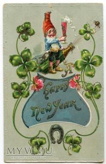 c. 1910 Życzenia Podkowa Nowy Rok Krasnale