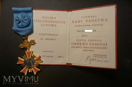 Legitymacja do Orderu Zasługi PRL IV Klasy