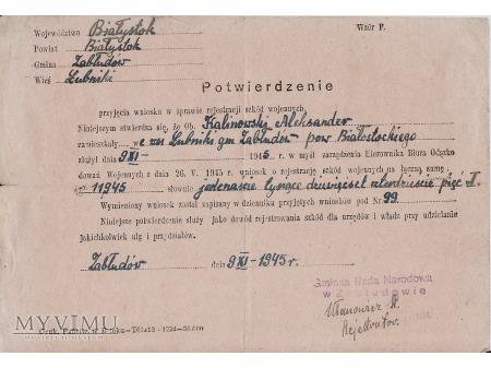 Duże zdjęcie Potwierdzenie-Zabłudów 1945.