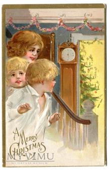 c. 1910 Wesołych Świąt Choinka Święta dzieci