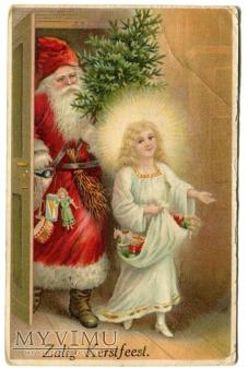 Święty Mikołaj i Anioł Zalig Kerstfeest Holandia