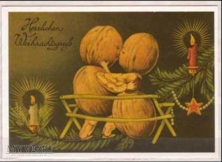 Kartka świąteczna Zakochane orzeszki