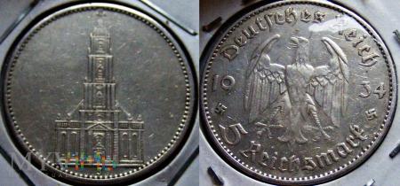 Duże zdjęcie Niemcy - 5 marek 1934 J - KOŚCIÓŁ SREBRO 900 Ag