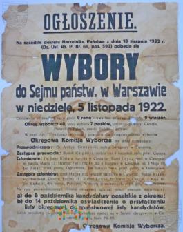 Duże zdjęcie Ogłoszenie wybory do sejmu 1922.