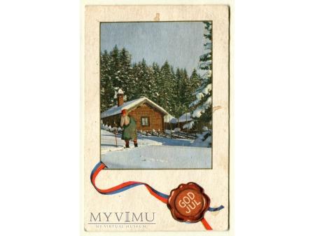 1958 Norwegia pocztówka świąteczna Skandynawia