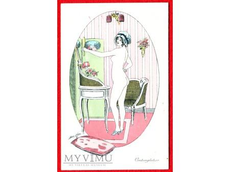 Xavier SAGER naga panna i lustro łazienkowy akt