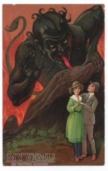 1923 KRAMUS Diabeł i zakochani Devil postcard