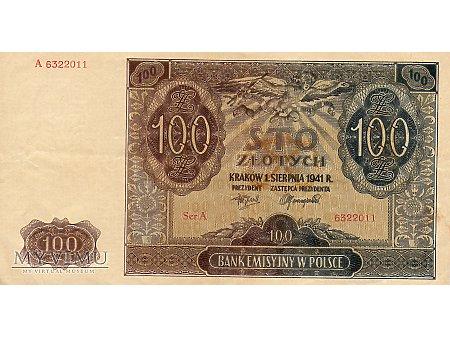 100 Złotych 01.08.1941 r.
