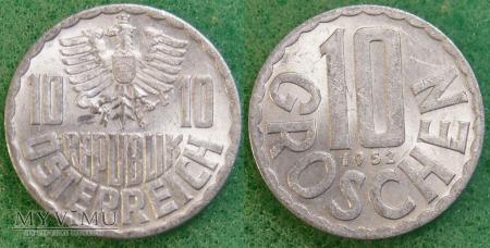 Austria, 10 groschen 1952
