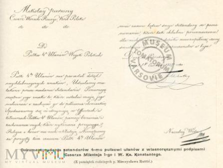 Dokument wojskowy z podpisem cara Mikołaja I.