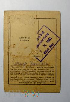 zaświadczenie do biletów 1941 r