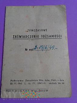 Tymczasowe Zaświadczenie Tożsamości z 1949r.