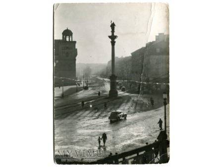 1958 Warszawa w deszczu PLAC ZAMKOWY