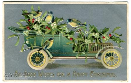 1908 Wesołych Świąt AUTOMOBIL i jemioła