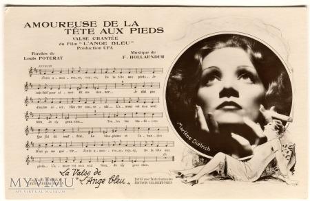Marlene Dietrich i nuty P-C Paris pocztówka